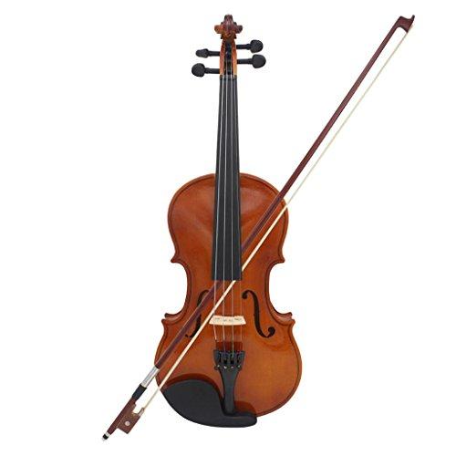 Gazechimp 4/4 Violinen Geigen Set, inkl. Koffer + Bogen + Kolofonium aus Holz für Anfänger (Braun)