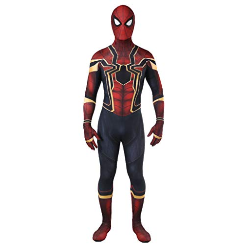 NDHSH Avengers Spiderman Kind Erwachsene Cosplay Kostüm Kostüm Overall Outfit Halloween Party Prom Maskerade Festival Kostüme Geschenk,Red-XL (Spiderman Outfit Erwachsene)