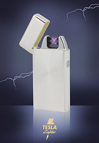Tesla-Lighter T05 Lichtbogen Feuerzeug Plasma Double-Arc elektronisch wiederaufladbar. Aufladbar per USB mit Strom ohne Gas und Benzin. Mit Ladekabel in edler Geschenkverpackung Silber gebürstet