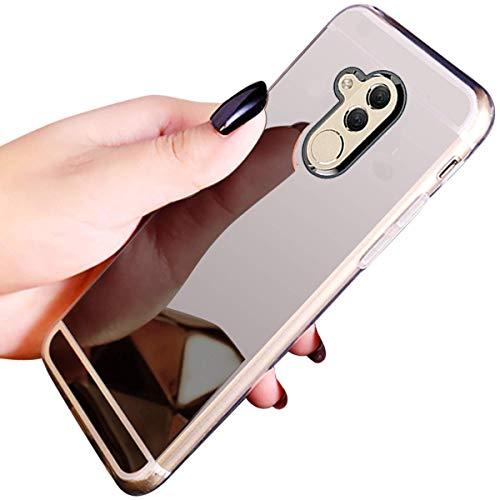 Sycode für Huawei Mate 20 Lite Spiegel Hülle,Luxus Silikon Dünne Verspiegelt Make Up Spiegel Kratzfeste Weich Schutzhülle Back Cover für Huawei Mate 20 Lite-Silber