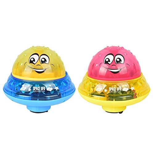 Finebuying Kinder Badespielzeug Sprinkler Toy Badespray Spielzeug Automatische Induktions Sprinkler Musik Lampe Babyspiel Badespielzeug Wasserspielzeug für Dusche Schwimmbad (1 Gelb & 1 Rot)