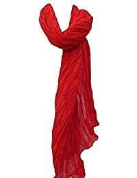 """New Plain bright blood red Crinkle Effect Ladies Fashion Soft Shawl Scarf Wrap 70"""" x 35"""" Posted by Fat-Catz"""