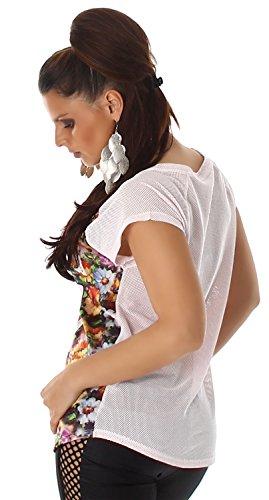 Voyelles Damen Shirt mit Print & Strassverzierung Rosa
