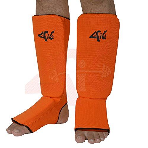 4Fit Schienbein Spann Protektoren, die wachen Pads Boxen, MMA, Muay Thai,, Orange
