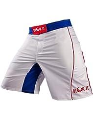 Pantalones Cortos para Peleadorde Blok-iT - Estos Shorts de Boxeo y MMA son Grado Competencia, pero Flexibles y Cómodos para todos el Entrenamiento Diario - Ideales para Todas las Artes Marciales, Surf, y Andar en Patineta (Blanco Azul, M)