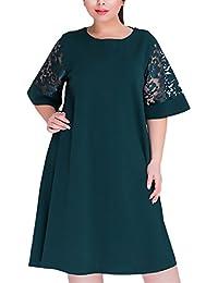 Vestidos De Mujer Hasta La Rodilla Para Gorda Elegantes Vintage Encaje Splicing Vestidos De Fiesta Media