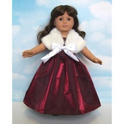 Burgundy Satin Evening Dress with Fur Wrap. Fits 18 Dolls