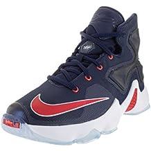 Nike Lebron XIII (GS) Mid infantil, azul marino/Universidad Rojo/Blanco/BRGHT baloncesto zapatos 6niños US