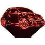 FIAT 595 Abarth, Lampada illusione 3D con LED - 7 colori.