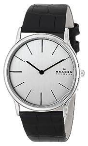 Skagen 858XLSLC - Reloj de caballero de cuarzo, correa de piel color negro de SKAGEN