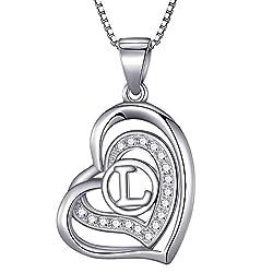 Morella® Damen Halskette Herz Buchstabe L 925 Silber rhodiniert mit Zirkoniasteinen weiß 46 cm