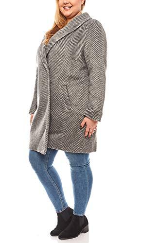 Linea TESINI Warmer Mantel Damen Wollmantel Große Größen Casual Grau, Größenauswahl:50