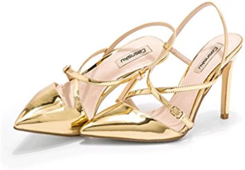 3b11b4b8a6bce4 sandales à talons élégante rêve dit sexy sexy sexy cheville chaussures  chaussures en cuir (couleur: or, taille: 39) b07488d712 parent | Outlet  Store 3096e9