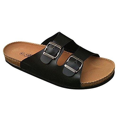 Pantofole Unisex Adulto - Sandali PU-Cuoio Donna - Pantofole Uomo Nero