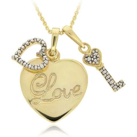 In argento Sterling placcato oro 18 kt, diamante Accent-Collana cuori