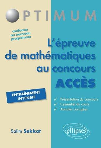 l'Epreuve de Mathématiques au Concours ACCES