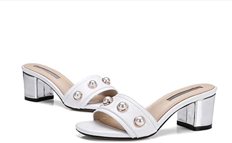AJUNR AJUNR AJUNR Sandali Da Donna Alla Moda Calzature dolce pantofole con grassetto Perla pantofole bianco 6 cm ad alta scarpe... | In Breve Fornitura  | Scolaro/Ragazze Scarpa  006546