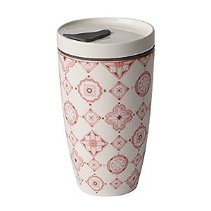 Villeroy & Boch To Go Rosé Coffee-to-Go-Becher, 2-teilig, 350 ml, Premium Porzellan/Silikon, Weiß/Pink