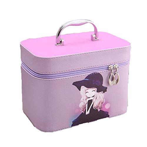 FRTU Kosmetische Aufbewahrungsbox Makeup Organizer Tragbarer Spiegel Multifunktions Kosmetikkoffer Reise Kosmetikbox Lila (Tragbarer Make-up-spiegel)