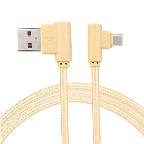 LoongGate rechts Winkel Micro-USB-Kabel, Nylon geflochtene 90 Grad USB A bis Micro B-Aufladung & Daten-Sync-Kabel für alle Micro-USB-Geräte-1 Meter (3,2 ft)-Gold