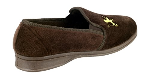 Mirak Mens Warminster Frank Embellished Soft Textile Slipper Brown Brun