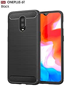 WOW Imagine Rugged Shock Proof Brushed Carbon Fibre Texture [Anti Shock Corners] Impact Resistant Armour Slim Profile TPU Phone Back Case Cover for 1+6T One Plus OnePlus 6T - Carbon Black