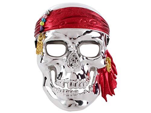 Halloween Piraten Totenkopfmaske ca 16 x 21 cm Partyzubehör für Kinder und Erwachsene 5424 von Alsino, Piraten-Maske silber