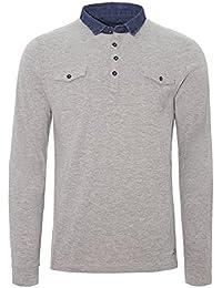 Brave Soul - T-Shirt à manches longues - Chemise - Uni - Col Chemise Classique - Manches Longues - Homme gris gris Small
