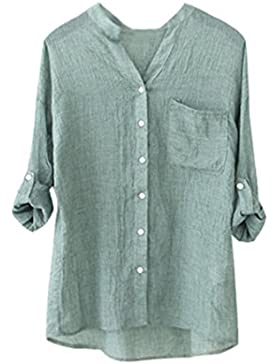 Vovotrade Mujer Hombre Algodón Lino Bolsillo Camiseta Sólido Manga Larga Casual Suelto Blusa Abotonar Tops