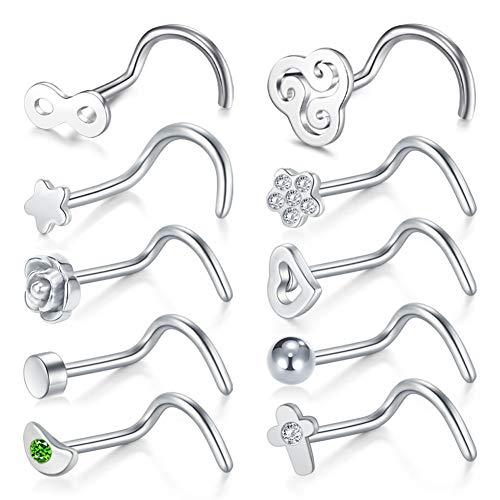 FECTAS 10stk Silber Nasenstecker Spirale Nasenpiercing Stecker Set Chirurgenstahl 0.8mm Piercing Nase Schmuck