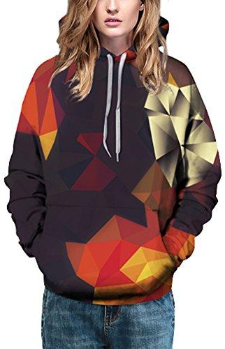 Bettydom Damen Unisex Slim Fit mit bunt 3D Aufdruck Geschmack Weihnachten Sweatshirt Kapuzenpullover Hoodies Langarm Top Jumper Shirt 2 Multicolor Dreieck