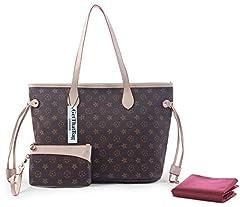 Idea Regalo - GetThatBag® Boston Monogramma Stampa Borsa a tracolla borsa Shopper (Brown Stars)