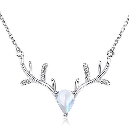 BE STEEL 925 Sterling Silber Geweih Halskette Damen Mädchen Weihnachten Urlaub Elch Rentieren Anhänger Halsketten Mondstein Geschenk Box Mode Schmuck (Halskette-geschenk-boxen)