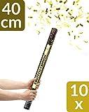 10 Konfetti Shooter Gold 40cm   Goldregen mit Extra lautem Knall   Konfettikanone mit Hoher Schussweite