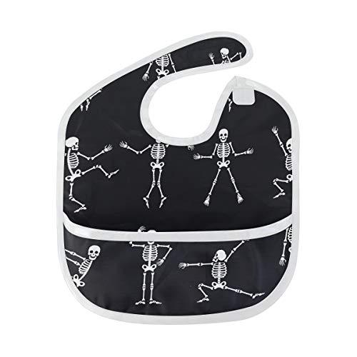 (Enhusk Schwarz Weiß Dead Dance Skeletons Wallpaper weiche wasserdichte Flecken und geruchsresistente Baby Fütterung Dribble Sabber Spucktücher Spucktücher für Säuglingsoverall für 6-24 Monate)