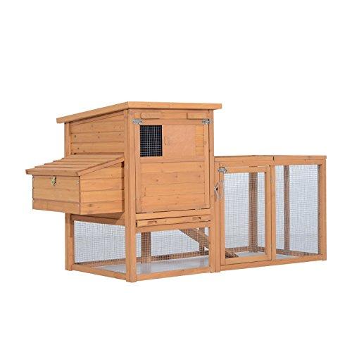 Pawhut pollaio gabbia per galline da esterno con zona di corsa e nido in legno 190 × 81 × 103cm