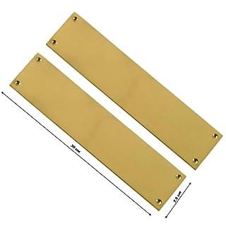 2 X VICTORIAN Style Slim Brass Gold Light Finger Plate Push Plates Enter Exit - 30 cm