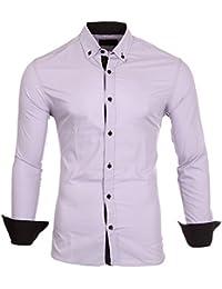 Reslad Herren-Hemd Kontrast Look Button-Down-Kragen Langarm-Hemd RS-7055