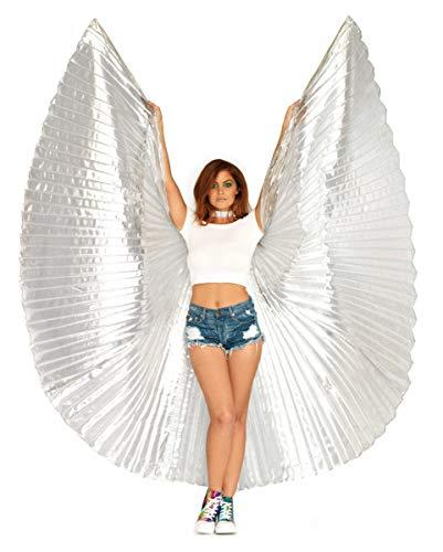 Horror-Shop Silberne Isis Flügel 135cm für Fasching & Halloween