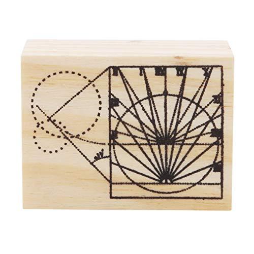 Jixing Holz Stempel Gummidichtung Platz Handschrift DIY Handwerk Mehrere Muster, Sonne Schatten, aus Holz