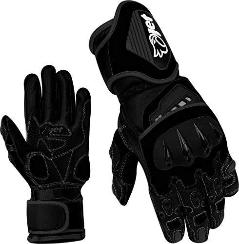 Voll-leder-fahrer-handschuhe (JET Motorradhandschuhe Premium-Leder Belüftete Hartschalen auf Knöcheln und Fingern (Volles Schwarz, L))