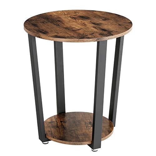 VASAGLE Vintage Beistelltisch Metall, Kaffeetisch, runder Sofatisch mit Eisengestell, Tisch für Wohnzimmer, Schlafzimmer, stabil, einfacher Aufbau, Holzoptik LET57X