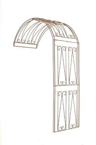 CLP Rose Arch RICCARDO, half-round, wall-mountable, choose from various dimensions + colours, made of robust iron antique brown, 130 x 80 x 258 cm