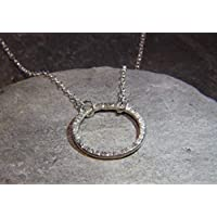 Sterling Silver Circle necklace - hammered finish circle - minimalist necklace - line hammered texture - Sterling Silver circle - hand made in Cornwall - Genuine Real Silver - Mothers Day gift