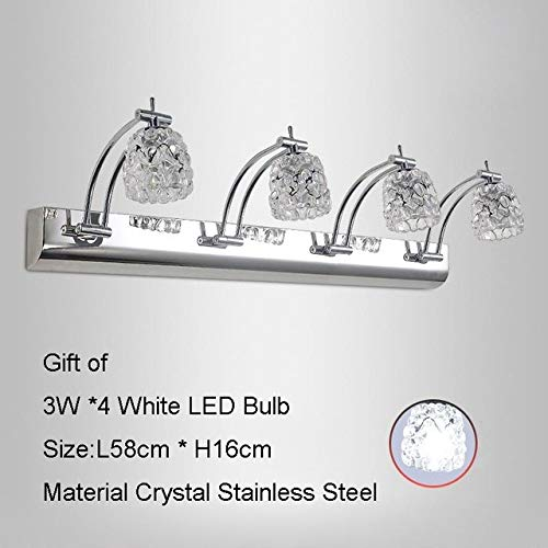 XY&XH Wandlampe, 110V-240V K9 Kristallblume-moderne LED-Wandleuchte-Spiegel-Kabinett-Licht-Badezimmer-Eitelkeit-vorderer Spiegel, der Wand-Wandlampen beleuchtet, 4 Kopf, kaltes Weiß -