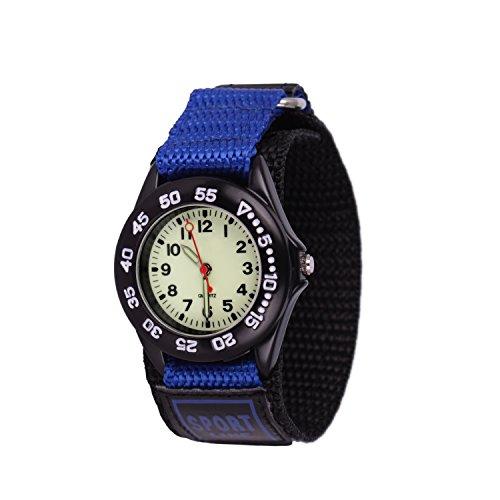 Neihou Kinder und Jugendliche Uhr Analog Quarz mit Nylon Armband WB03703 Beleuchtung und Drehbare Lünette Blau MEHRWEG