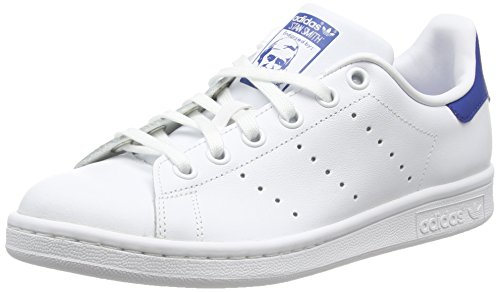 adidas Stan Smith, Baskets Basses Garçon, Blanc (Ftwr White/Ftwr White/Eqt Blue S16), 38 2/3 EU