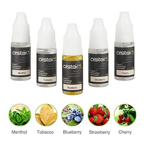 Alsterplus E zigarrette Liquid, 5 x 10ml E Shisha Liquid Ohne Nikotin, Einsteiger Mitgelieferten Liquids - Tabak, Minze, Blaubeere, Erdbeere, Kirsche