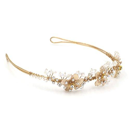 Butterme Braut Vintage Blumen-Kristall Strass-Stirnband Stirnband Hochzeit Haarschmuck - 4