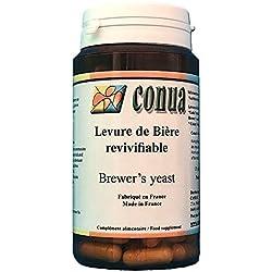 Levure biere vivante revivifiable 120 gélules en poudre 19 milliards d'UFC par jour : active revivifiante digestion peau cheveux et ongles acné et barbe - FABRICATION FRANCAISE - Conua depuis 2003